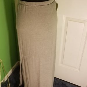 Sz L, long soft cotton skirt, sexy split each side